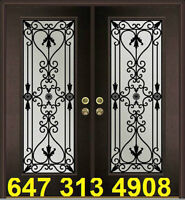 Wrought iron inserts tempered glass entry doors