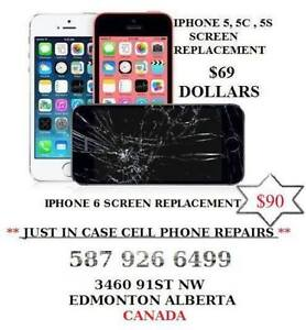 IPHONE SCREEN REPLACEMENT 5, 5C, 5S $69 IPHONE 6 $90