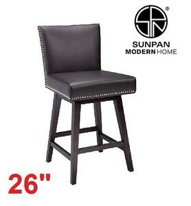 NEW SUNPAN SWIVEL COUNTER STOOL - 107787429 - VINTAGE LEATHER SWIVEL COUNTER STOOL - BROWN
