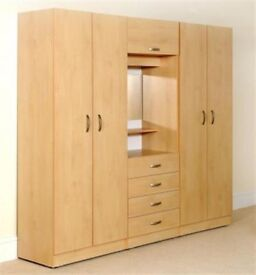 **14-DAY MONEY BACK GUARANTEE!** - Assembled Wardrobe Fitment 4 Doors With Dresser and Mirror