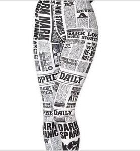Women's Newspaper Printed Leggings - Size Small to Medium
