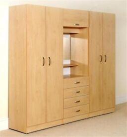 EXCLUSIVE SALE💥CHEAPEST PRICE💥DRESSER & MIRROR💥BRAND NEW 4 DOOR WARDROBE IN BEECH/OAK/WHITE/BROWN