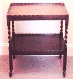 Rare ORNATE delicate lightweight antique wooden trolley with pretty turned uprights