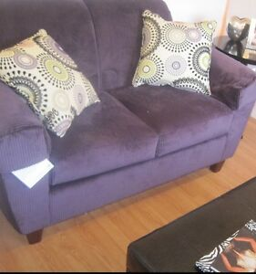 Purple Brentwood sofa and love