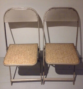 4 COOEY Folding Chairs BRONZE Antique Vintage