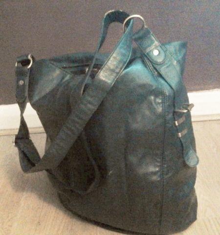 Large Ladies Green Hobo Handbag.