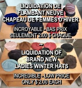 LIQUIDATION DE NEUF - CHAPEAU DE FEMMMES / ALL NEW LADIES HATS