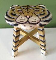 Unique wood hand-painted Tiger stool for kids