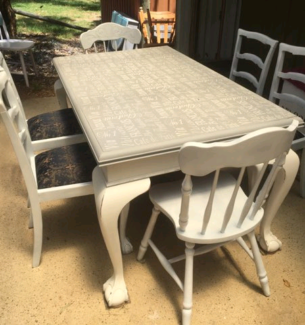 Upcycled Vintage Claw Feet French Provincial Dining Table And Cha Part 95