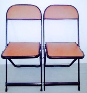 FREE DELIVERY 2 VINYL Card Table FOLDING CHAIRS Antique Vtg