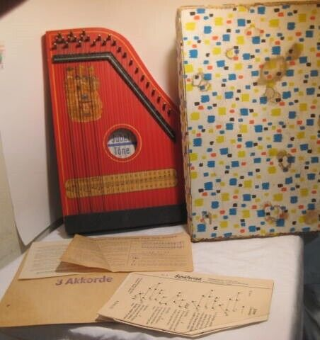 Old German Democratic Republic Childs Musical Zither String Instrument w/Box
