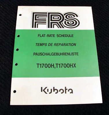 Original Kubota T1700h T1700hx Lawn Garden Tractor Flat Rate Schedule Manual