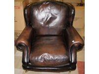Antique brown leather Thomas Lloyd arm chair