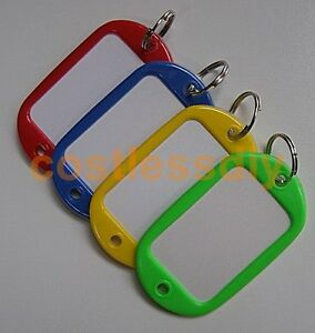 Key Ring Plastic Key Name Tags Extra Large Luggage Labels Pack of 4 Mixed Colour