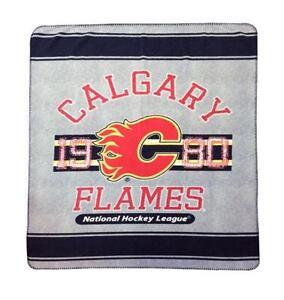 New NHL Ice Hockey Calgary Flames Rolled Fleece Throw Blanket 50