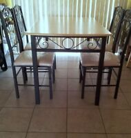 DINING TABLE+ 4 CHAIRS +BAKERS RACK +SERVING TROLLEY + BAR STOOL