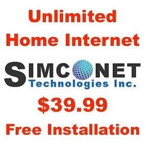 Unlimited Internet, $0 Modem+$0 Install+$0 Dry Loop, $39.99/month