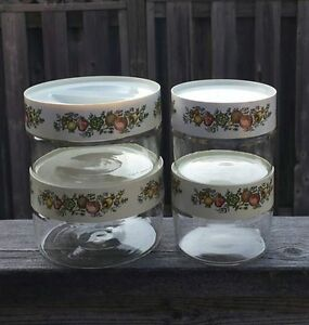 "Vintage Glass Pyrex Canister set "" spice of life """