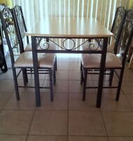 DINING TABLE+4 CHAIRS +BAKERS RACK+SERVING TROLLEY+BAR STOOLS