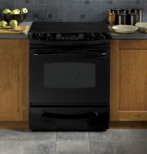 """GE PROFILE 30"""" SLIDE-IN ELECTRIC RANGE/OVEN WITH GLASS COOKTOP"""