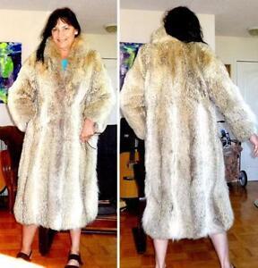 RARE WOLF SKIN FUR COAT Long Midi Length Vtg Womens M Canada