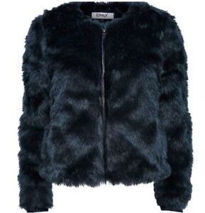 ONLY- Faux Fur - Navy Blue Jacket- SMALL