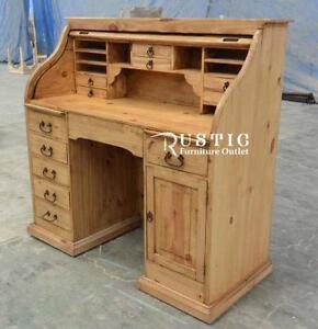 Secrétaire bureau bois rustique en pin - Rolltop rustic pine office desk