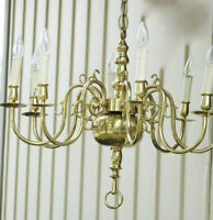 Vintage Heavy Solid Brass Dining Room Chandelier