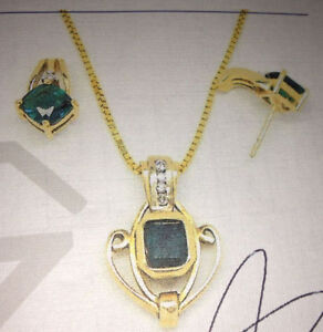 10-14 KT Gold & Natural Emerald Earrings and Pendant
