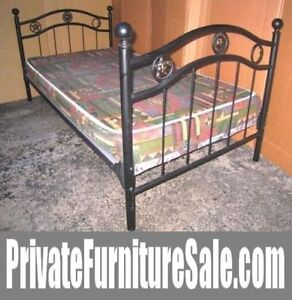 Black Metal Single Bed+free board to support mattress(extra $$)