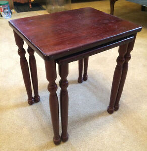 Small Wooden NESTING SIDE TABLE SET - $20 for 2