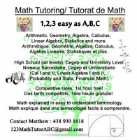 123MathTutorABC - Mathematics tutoring available for all levels