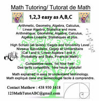 Math tutoring available for all levels.