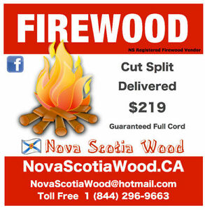 Hardwood Firewood $219 Cord  Delivered   www.NovaScotiaWood.ca