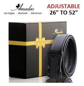 4eb30f25a915 NEW AMEDEO ADJUSTABLE MENS BELT AEBL130 240080703 BLACK MATTE AUTOMATIC  BUCKLE LEATHER ONE SIZE 26 TO
