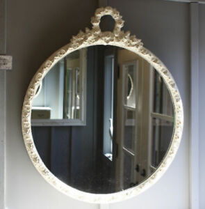 GORGEOUS ANTIQUE FRENCH PROVINCIAL ROUND MIRROR