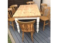 Solid pine farmhouse table & six chairs