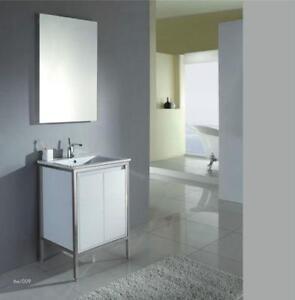 Vanité OJV-02, 24'', blanche, chromée, moderne