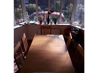 Wooden dinning table & 6 chairs for sale