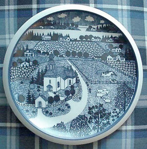 Arabia Wartsila Finland Village Church Charger Wall Plate Perfect w/Container Box