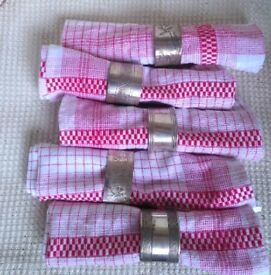 Vintage French silver plated napkin rings x 5