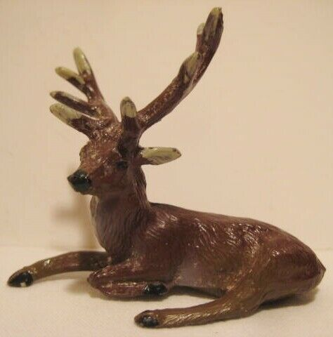 Old Miniature Metal Lying Reindeer for Christmas Putz Village - Japan