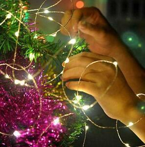 Fairy String Lights 100 LED Copper Wire Lights - Assorted Colours 10 Meter (33ft) Length in white cool warn