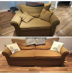 Green Couch & Large Chair (selling together or individually)
