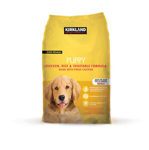 Full unopened bag of Kirkland puppy food