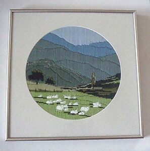 Framed Crewel Embroidery Sheep in Meadow Picture Pastoral
