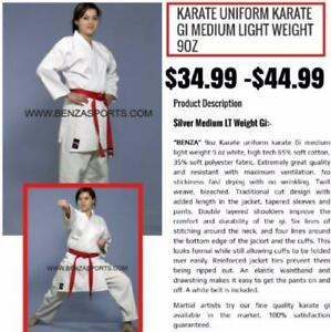 Karate Uniform Karate Gi Medium light Weight 9OZ only @ Benza Sports