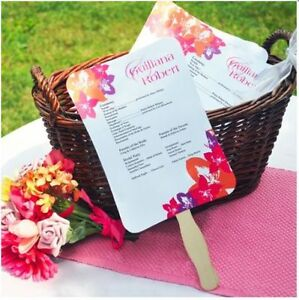 DIY Wedding Fan Program Paper Kit
