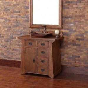 """Pasadena 36"""" Single Bathroom Vanity with Wood Top"""