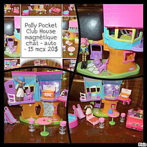 Polly Pocket Club House magnétique - chat - auto - 15 mcx 20$